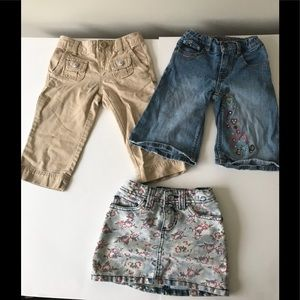 Lot of 3 Girls Khaki & Jean Capris & Skirt size 5